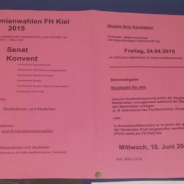 Offizieller Aushang zur Gremienwahl im Juni 2015, Foto: Pia Höllwig