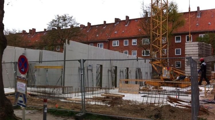 Die Baustelle vor dem kleinen Hörsaalgebäude, Foto: Lene Rusbült