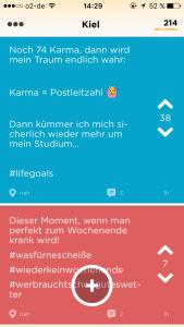 Das virtuelle Karma sammeln motiviert die Nutzer die App kontinuierlich zu aktualisieren.