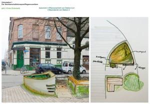 Ein Entwurf für eine permakulturelle Grünstation in der Stadt. Bewohner dieses  Stadtteils können hier ihren eigenen Kompost produzieren und als Dünger verwenden.