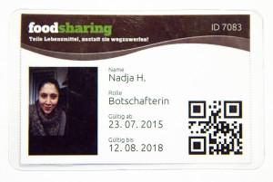 Jede/r Foodsaver/in und Botschafter/in bekommt eine persönliche Karte, um sich bei den Betrieben ausweisen zu können.