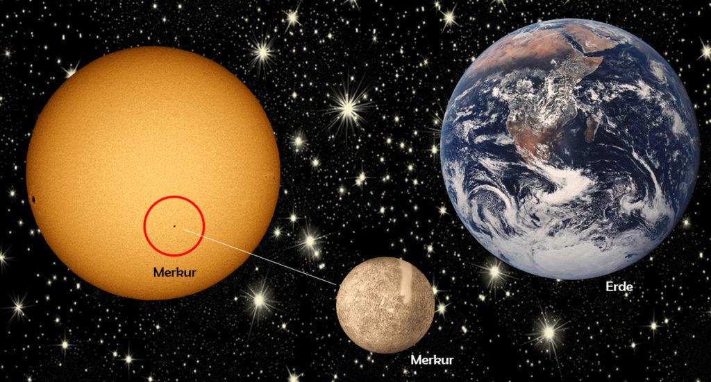 Links: Um 13.11 Uhr kommt es zum ersten Kontakt von Merkur auf der Sonne. Der Planet wird von links, zur Mitte und dann abwärts an der Sonne vorbei ziehen. Das Ende wird um 20.41 Uhr sein. Rechts: Größenvergleich Erde - Merkur.