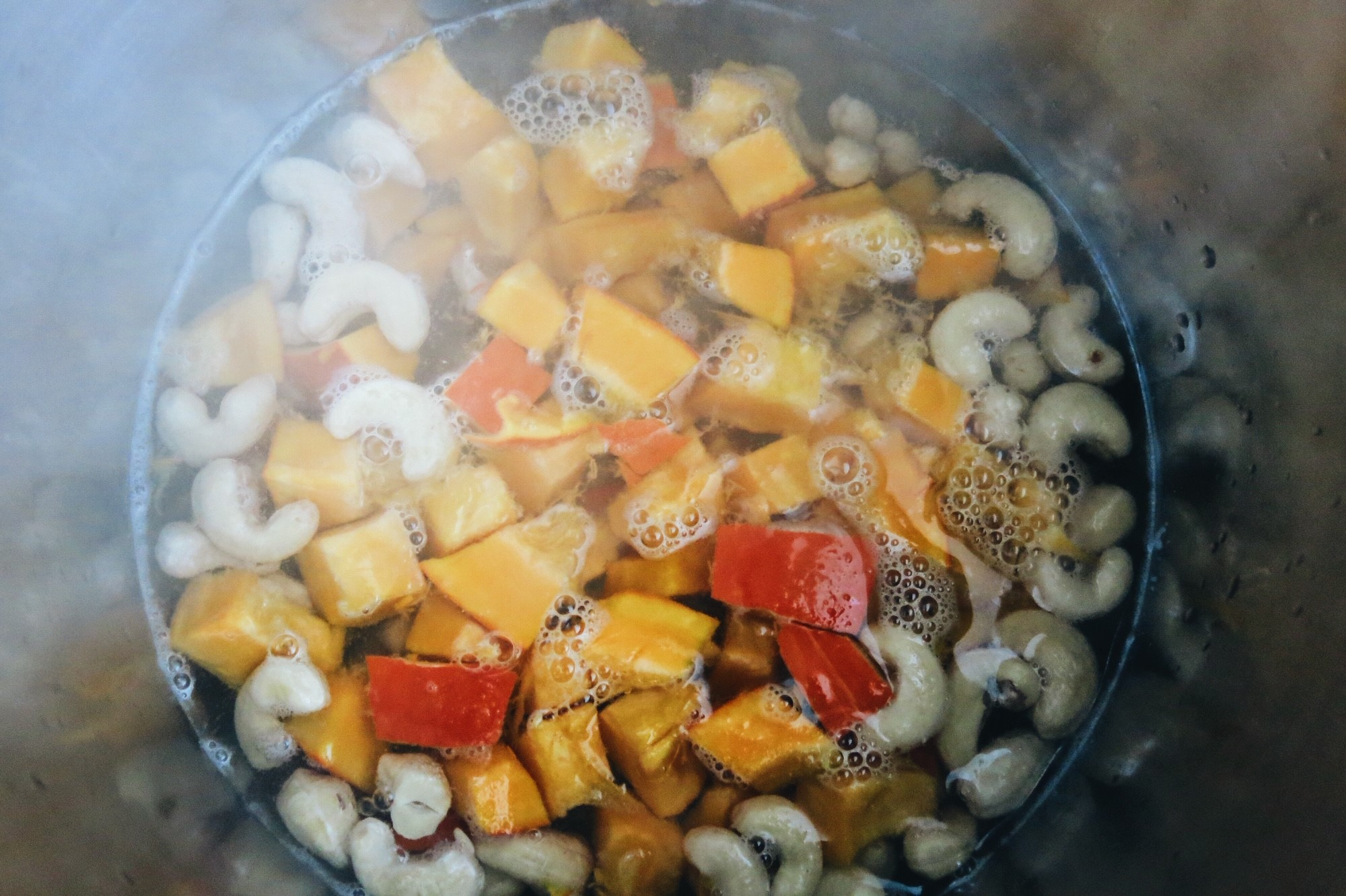 Cooking the pumpkin and cashews